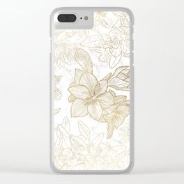 Elegant modern white faux gold marble floral Clear iPhone Case