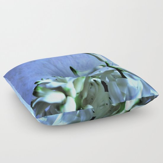 white hyacinthe on light blue background Floor Pillow