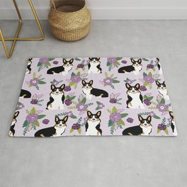 Tricolored Corgi Floral print - feminine blue purpl florals dogs, dog lover, dog mom, tri corgi cute Rug