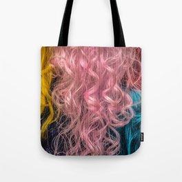 Rainbow female hair Tote Bag