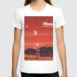 Mars Vintage Space Travel poster T-shirt