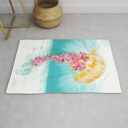 Jellyfish with Flowers Rug