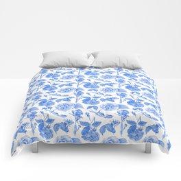 Blue Roses Watercolor Comforters