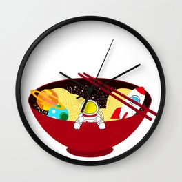 Space Odyssey Ramen | Astronaut Ramen | Bowl of Space Ramen | Galaxy in a Bowl | pulps of wood Wall Clock