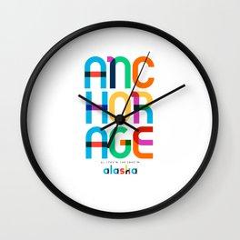 Anchorage Alaska Mid Century, Pop Art, Mondrian Wall Clock