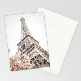 Eiffel Tower Cherry Blossoms Stationery Cards