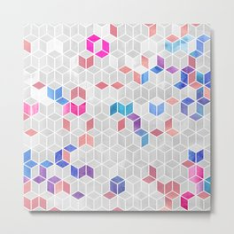 Watercolor Kaleidoscope. Mosaic. Rose gold Metal Print