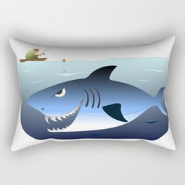 Fisherman in the boat, unaware of the great white below Rectangular Pillow