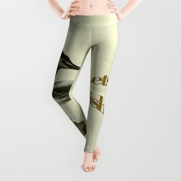Lets go Fishing, grebe reflecting on water with text. Leggings