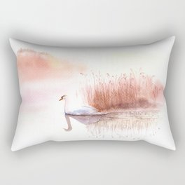 Landscape with a White Swan. Rectangular Pillow