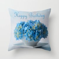 hydrangea Throw Pillows featuring Hydrangea by Fine Art by Rina