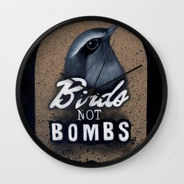 Birds not Bombs Wall Clock