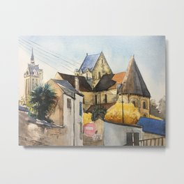 Normandy, France: Saint Nicolas Church in fall Metal Print