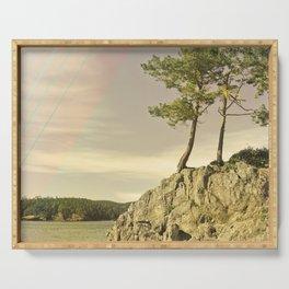 Abstract Modern Design Landscape Art Deco Rainbow Cliff Trees Ocean Island Northwest Washington Fore Serving Tray