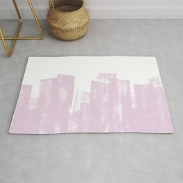 Rolled Ink Texture in Powder Pink and White Rug