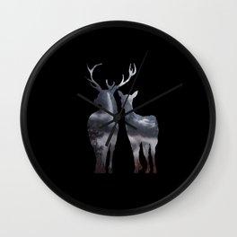 Forest deer family black pattern Wall Clock