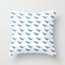Blue Whale Heard Throw Pillow