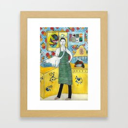 Man with cat in the kitchen Framed Art Print