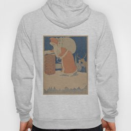 Vintage Santa Claus Going Down The Chimney Illustration (1901) Hoody