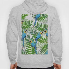 green Leaves with blue Makaw Birds Hoody
