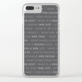 Grey Web Design Keywords Clear iPhone Case