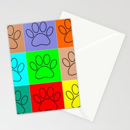 Puppy Paws In Squares Stationery Cards