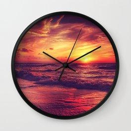 Sunset at the beach Wall Clock