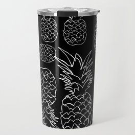single line pineapple (white) Travel Mug
