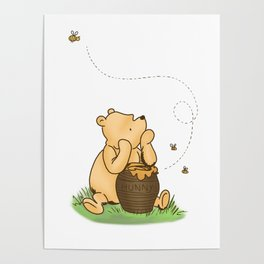 Classic Pooh with Honey - No background Poster