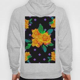 Black & Violet Golden Roses Pattern Hoody