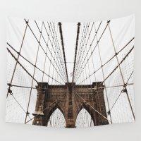 brooklyn bridge Wall Tapestries featuring BROOKLYN BRIDGE by alexandragibbs