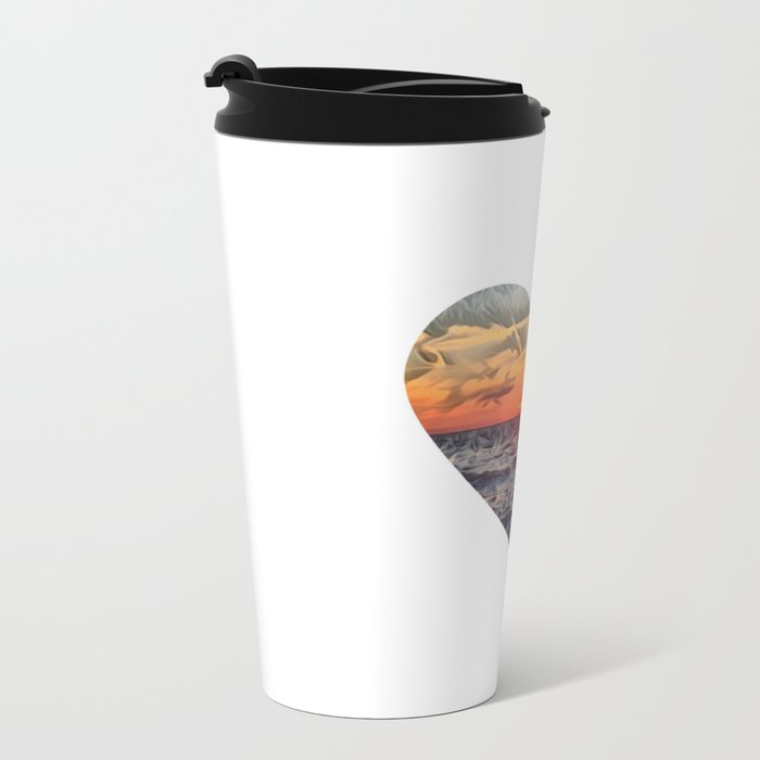 Sunset Heart Love (Valentine's Day Gifts / Girlfriend Valentine Gift) Metal Travel Mug