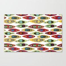 I Heart Kayaks Pattern Canvas Print