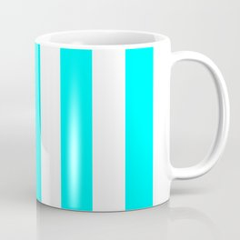 Electric cyan heavenly - solid color - white vertical lines pattern Coffee Mug