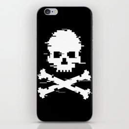 Crossbones Glitch Art iPhone Skin