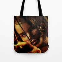 katniss Tote Bags featuring Katniss by tgronberg