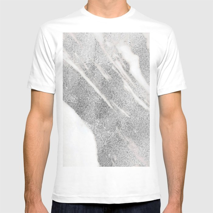 7b72d1def9e1 Marble - Silver Glitter on White Metallic Marble Pattern T-shirt by ...
