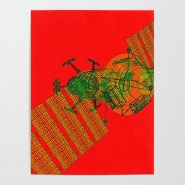Explorer Schematic Warped Green on Red Poster