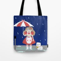 bee and puppycat Tote Bags featuring Bee and Puppycat in the Rain by Paul Scott (Dracula is Still a Threat)