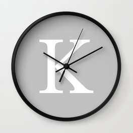 Silver Gray Basic Monogram K Wall Clock