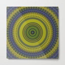 Blue Green Bohemian Mandala Metal Print