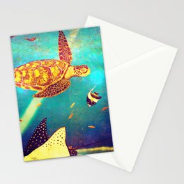 Beautiful Sea Turtles Under The Ocean Painting Stationery Cards