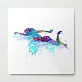 Girl Swimming Colorful Watercolor Sports Art Metal Print