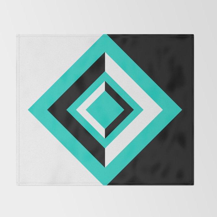 Teal Black and White Diamond Shapes Digital Illustration - Artwork Throw Blanket