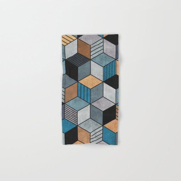Colorful Concrete Cubes 2 Blue Grey Brown Hand Bath Towel