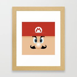 Mario With Cool Mustache Framed Art Print