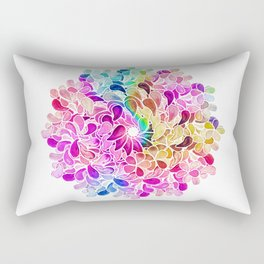 Rainbow Watercolor Paisley Floral Rectangular Pillow