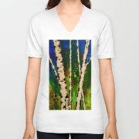 birch V-neck T-shirts featuring Blue Birch by BeachStudio