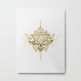 Gold Lotus Metal Print