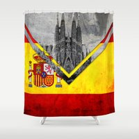 spain Shower Curtains featuring Flags - Spain by Ale Ibanez
